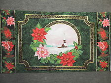 """Snow Covered Church w/ Christmas Poinsettias Quilting Fabric 23"""" Panel  #3156"""