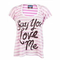 Junk Food Womens Say You Love Me T Shirt White Striped NEW