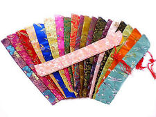 New 10pcs Mix Colors Chinese Silk Embroidery Folding Hand Fan Pouch Cover Case