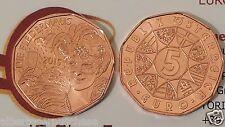 5 euro 2015 rame Cu Austria Autriche Osterreich Neujahr Nuovo Anno Dea Fortuna