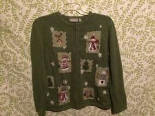 Christmas sweater Medium Croft & Barrow green holiday snowman cardigan ugly??