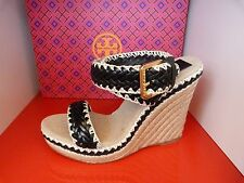 NEW TORY BURCH PALOMA £209 WEDGE HEEL BLACK & BEIGE SUMMER SHOES .. UK 8   US 10