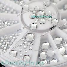 5 Sizes Acrylic Nail Art Decoration 3D Clear White Glitter Rhinestones #001X