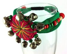 Bangle Braclet Belly Dancer Pink Green Wood Beads Gypsy Kuchi Surf Festival