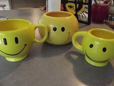SMILEY FACE LOT ceramic 3 total COFFEE CUP MUG teleflora yellow happy face