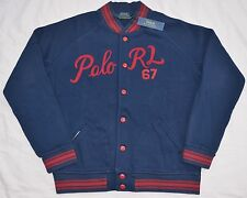 New XXL 2XL POLO RALPH LAUREN Mens fleece baseball varsity jacket Navy base ball
