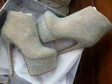 Kandee @ Topshop Platform Crystal Limonade Boots High Heels Size 5