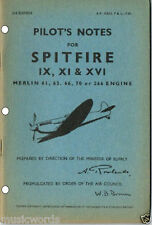 DIGITALLY REMASTERED PILOT'S NOTES: SPITFIRE IX, XI & XVI +MULTI-PAGE INFO PACK