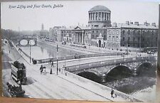 Irish Postcard RIVER LIFFEY & FOUR COURTS Dublin Ireland JV Litho W British Made