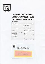 TED ROBERTS DERBY COUNTY 1935-1936 VERY RARE ORIGINAL HAND SIGNED CUTTING/CARD
