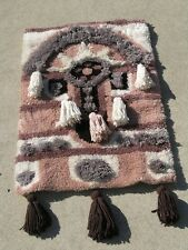 Great Vintage Three Dimensional Looped Yarn Tapestry Wall Hanging 24 x 42 inches