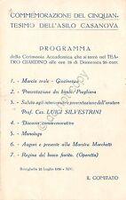 Cartolina Pubblicitaria - Commemorativa 50°-  asilo Casanova - Ravenna - 1936