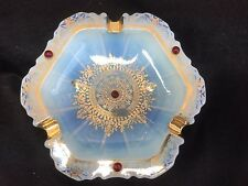VINTAGE OPALESCENT GLASS  ASHTRAY GOLD DECORATION AND RED GLASS BEADS