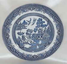 Churchill Dinner Plate Blue Willow England Blue & White Pagoda Tree Birds