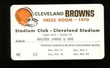 1970 Cleveland Browns Home Games Season Press Room Pass Ticket 23547