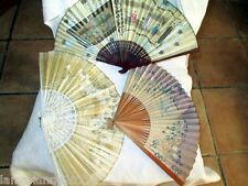TROIS EVENTAILS BOIS PAPIER GOUACHE ASIATIQUE WOOD PAPER FAN PUBLICITES PAINT