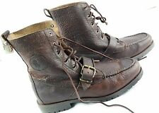 Ralph Lauren Polo mens sz 9 Ranger Mahogony pull up grain leather boots
