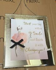 Next Champagne Glitter Hanging Sign Slogan Wall Art Lady Bow Mirrored Glass New