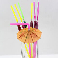 20X Novelty Party Decorations Paper Parasol Umbrella Cocktail Drinking Straws