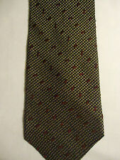 Structure Tan Black Red Tiny Checker Designs Silk-Wool-Viscose Tie 58""