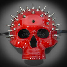 Steampunk Skull Theater Masquerade Mask for Men - Red Spike (M31170)