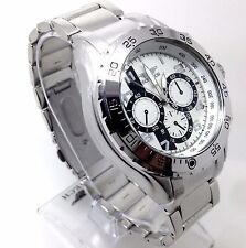 103S Men Police Dress Casual  Wrist Watch Stylish Silver Band Chronograph Dial