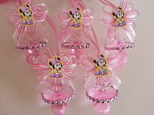 12 Minnie Mouse Pink Pacifier Necklaces Baby Shower Game Favors Prize Girl Decor