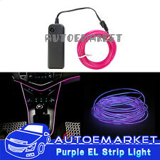 5M Purple Interior Light Car LED EL Wire Neon Lamp Atmosphere Glow Strip SUV 12V