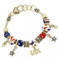PATRIOTIC 4TH OF JULY RED WHITE BLUE STARS HEARTS  CHARMS GLASS BEAD BRACELET