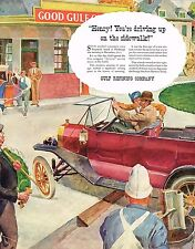 1936 BIG Vintage Gulf Oil Co. 1913 Drive In Gas Service Station Car Art Print Ad