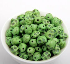 wholesale 25/50/200pcs Jewelry Making skull Turquoise Spacer Beads 9 color