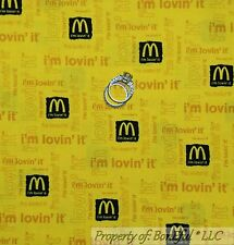 BonEful Fabric FQ Cotton Quilt Yellow Birthday Happy Meal Mc Donalds US Kid Food
