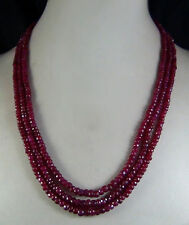 Fashion 5x8mm NATURAL RUBY FACETED BEADS NECKLACE 3 STRAND