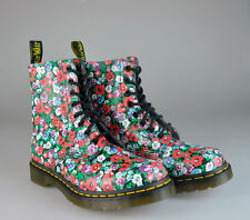 NEW Dr. Martens Pascal Wildpoppy Floral Print 8-Eyelet Leather Boots UK 5 US 7