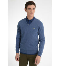 Original Beau Pull Col V LACOSTE DEVANLAY WOOLMARK Bleu Chiné Laine T.S NEUF