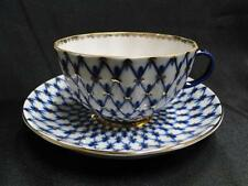 Lomonosov, USSR, Cobalt Net, Gold Trim: Flat Cup and Saucer Set (s) 2 3/8""