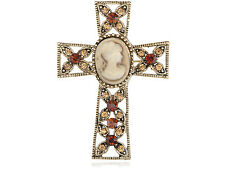 Easter Topaz Crystal Rhines Cameo Lady Maiden Holy Celtic Cross Chic pin Brooch