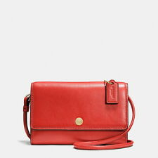 Coach Phone Crossbody Purse Red Watermelon Smooth Leather Small 63154 NWT