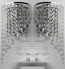 Pair of Modern Chrome Crystal Chandelier Wedding Pendant Wall Light Fixture Lamp
