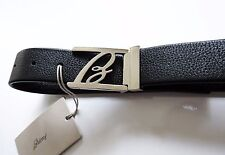 $600 NEW BRIONI Black Soft Pebbled Leather Hand Made Belt 34 US 50 Euro 90 CM
