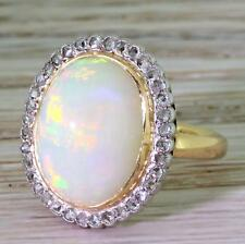ART DECO 7.00ct OPAL & ROSE CUT DIAMOND CLUSTER RING - 18k Gold - c 1915