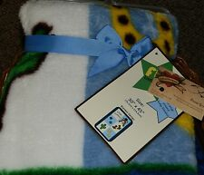 S L BABY BLANKET WRAP NEW PLUSH SOFT FUN LITTLE FRAME LITTLE COWBOY BOY BLUE