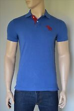 NEW Abercrombie & Fitch Classic Big Icon Polo Shirt Dark Blue Red Moose Logo S