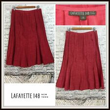 LAFAYETTE 148 Maroon Oxblood Red Pleated Full A-Line Skirt Linen Sz 8 Career Job