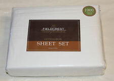 Fieldcrest White King Bed Cotton Rich 1000 Thread Count 1000TC Sheet Set New