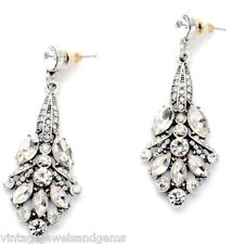 WHITE CLEAR DIAMANTE CRYSTAL RHINESTONE Silver Art Deco Chandelier Drop Earrings