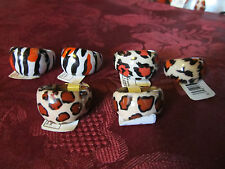 Assorted Animal Print Rings Set of 6 Tiger Leapord Cheetah