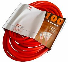 100-Foot 10 Gauge Triple Tap Extension Cord Lit End 3 Wire 10/3 Heavy Duty Ft