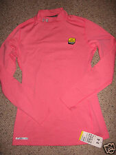 Womens UNDER ARMOUR ColdGear Fitted Mock Shirt PINK 1215968 LARGE NWT $50