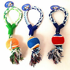 Puppy Dog Pet Tug Play Cotton Rope Throw and Ball Chew Toy with Knot Fun Play
